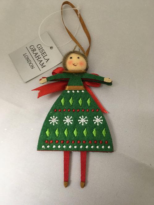 Felt Christmas lady tree ornament