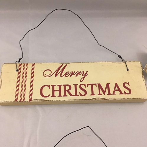 White and burgundy Christmas signs