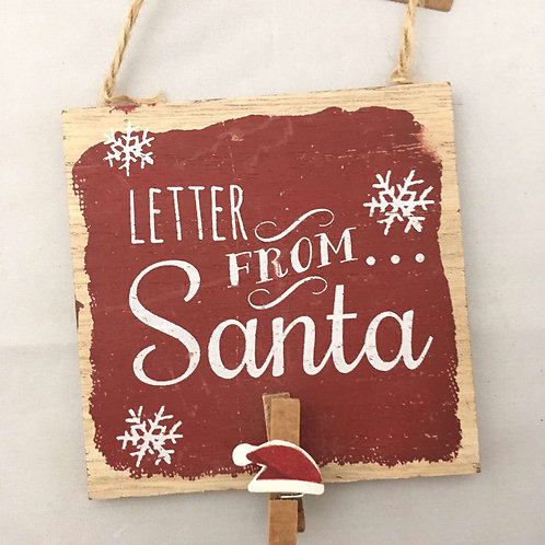 Letter from Santa wooden sign
