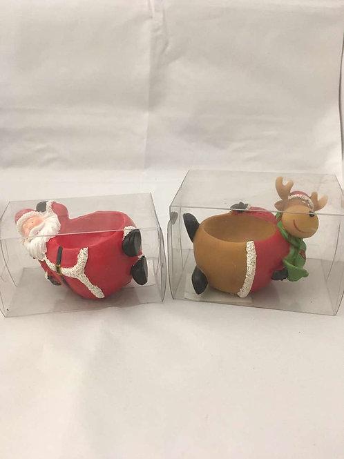 Santa and reindeer egg holder