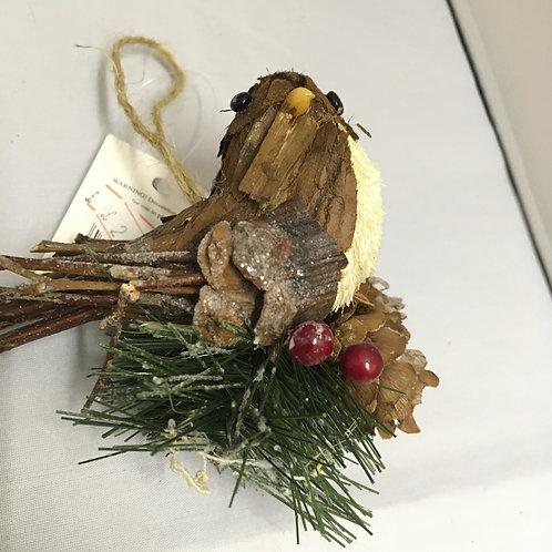 Wooden bird tree ornament