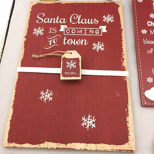 Santa to do list wooden board