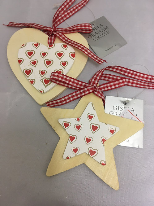 Wooden heart and star tree ornament