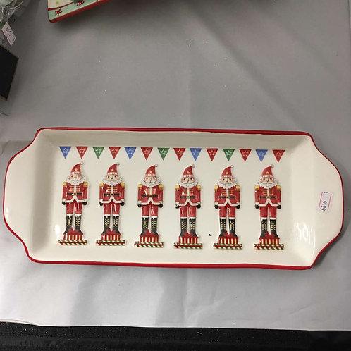 China nut cracker Christmas tea tray