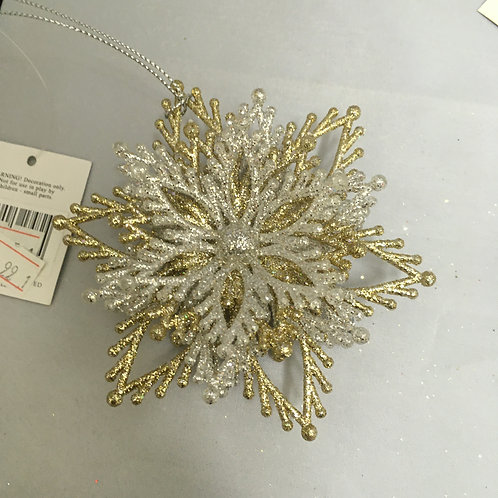 Silver and gold snowflake tree decoration