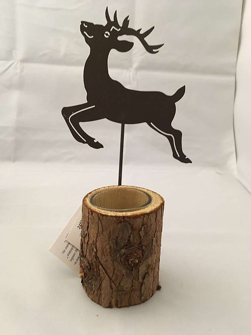 Reindeer and wooden candle holder