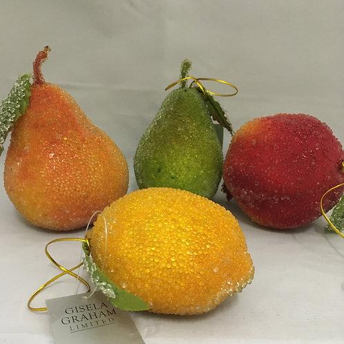 Crystaline bubble like fruit tree ornaments