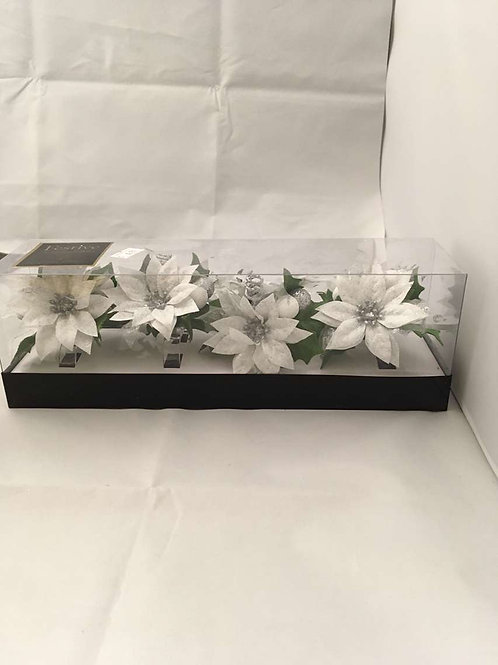 4 napkin silver flower rings