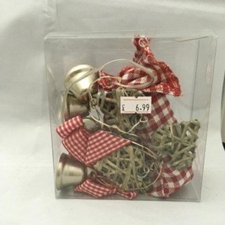 Christmas twig and gingham garland
