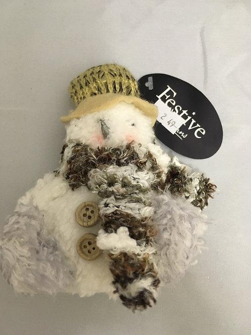 Small plush snowman tree ornament