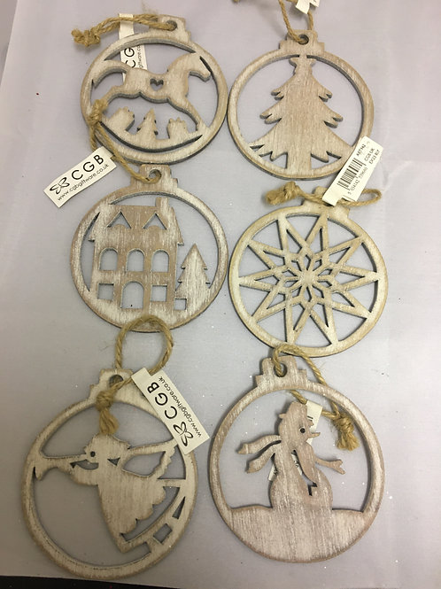 Wooden silhouette tree ornaments