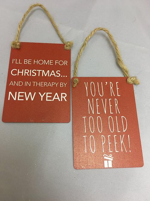 Small metal Christmas signs