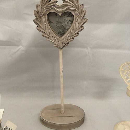 Wooden heart and stand with picture frame