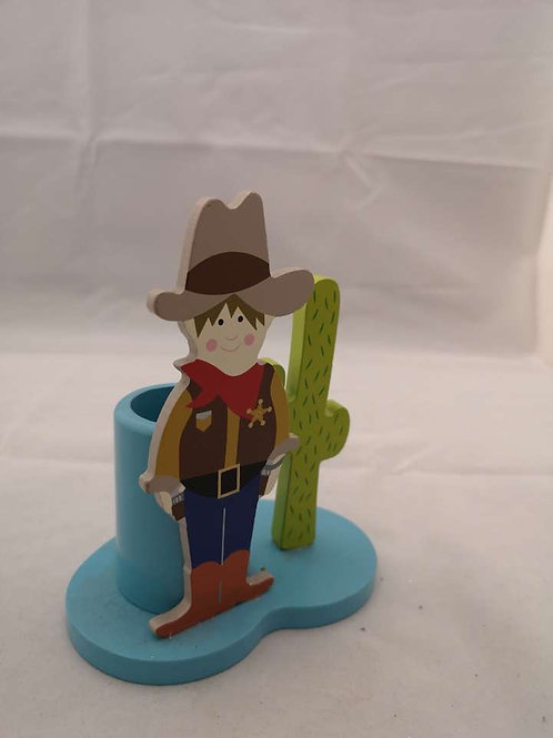 Wooden cowboy stationary set