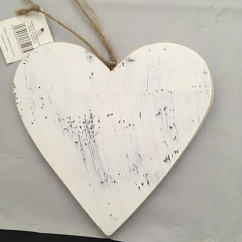 White wooden heart