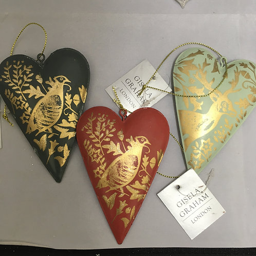 Metal heart tree ornaments