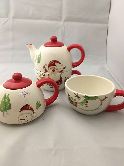 Christmas 2 in 1 teapot and cup