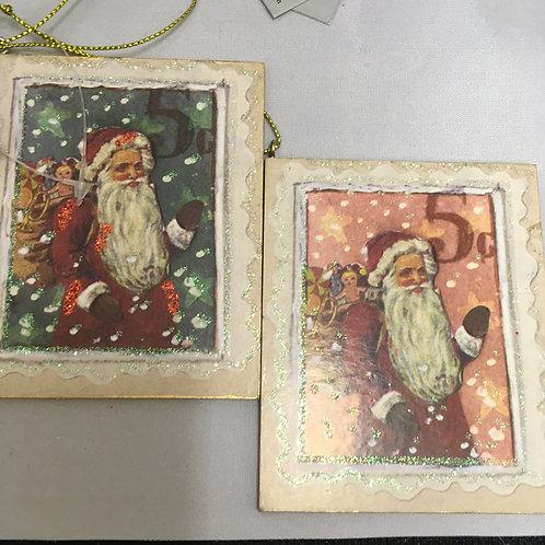 Santa stamp tree ornament