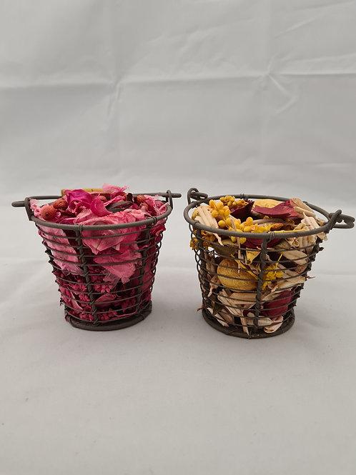 Scented dried petal basket