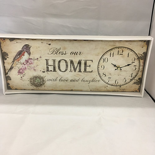 Bless our home sign with clock