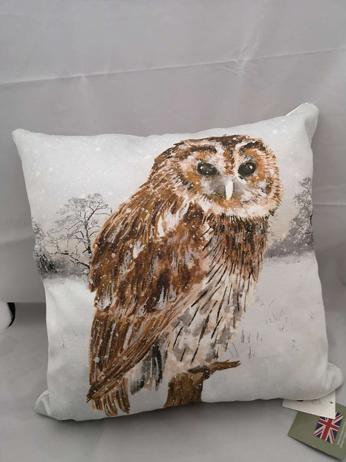 Owl snow scene Christmas cushion