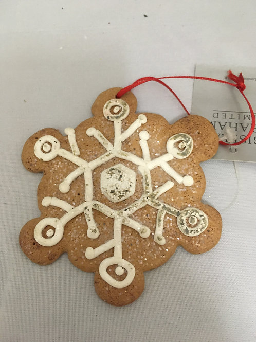 Clay like handcrafted snowflake tree ornament