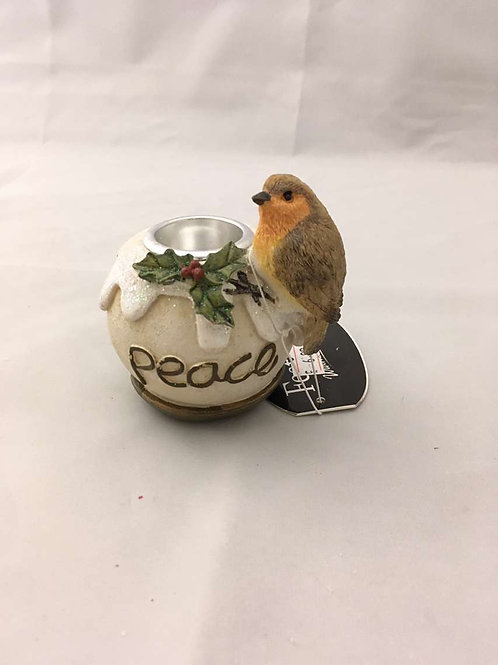 Robin and peace candle holder