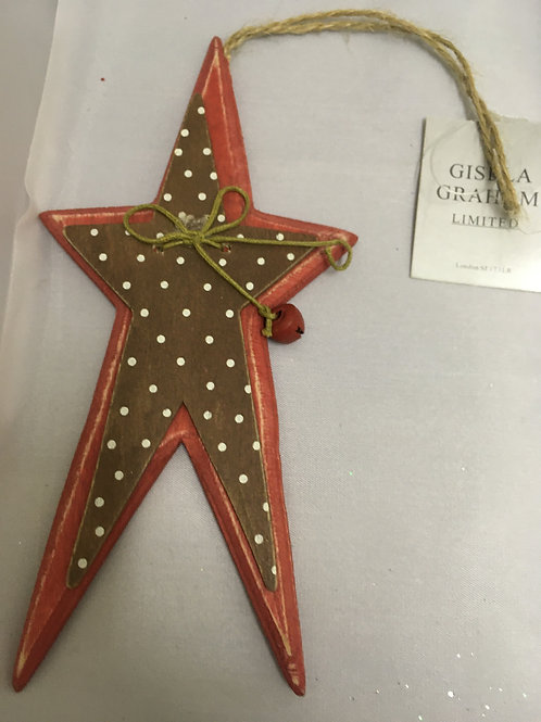 Large wooden star tree ornament