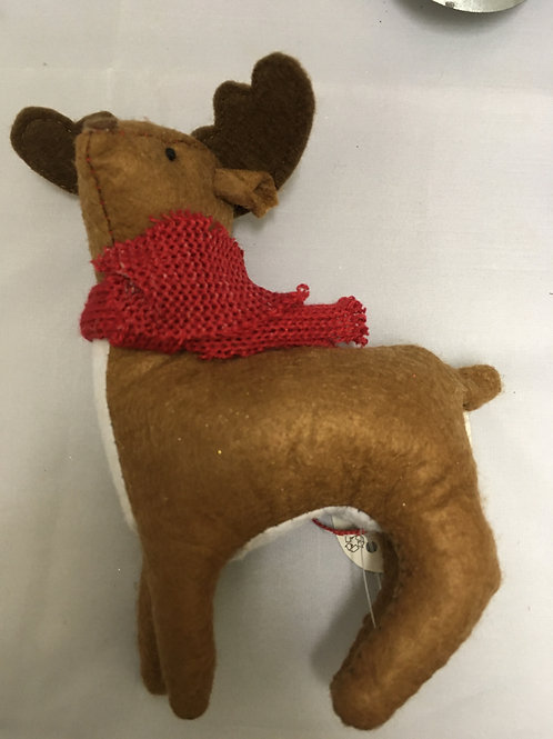 Plush reindeer tree ornament