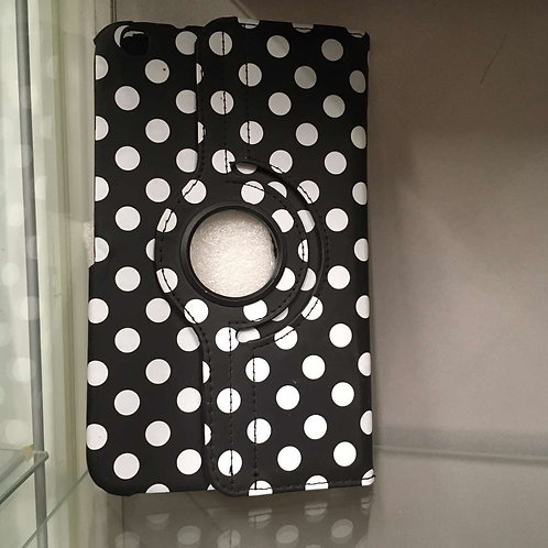 Black and white spotted tablet case with pen