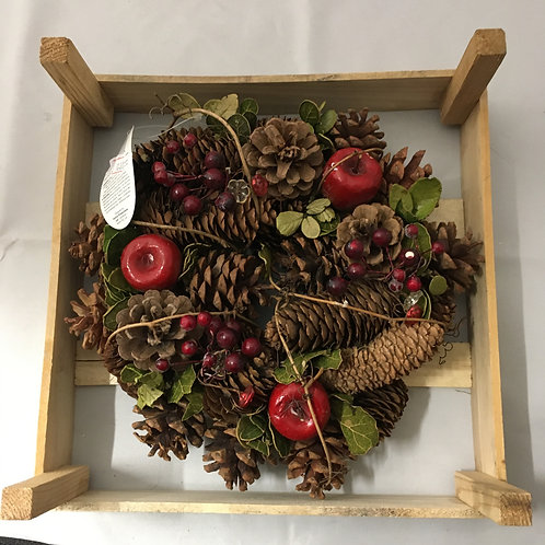 Pine cone and fruit wreath