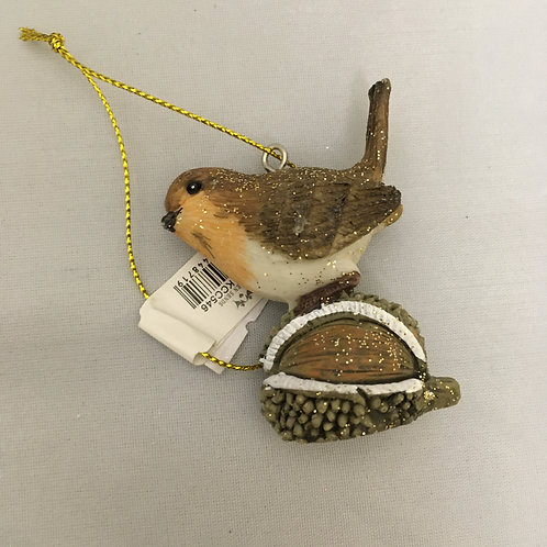 Bird on acorn tree ornament