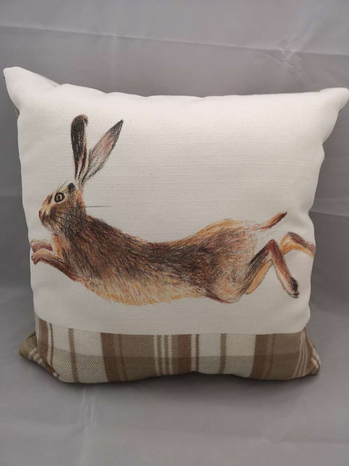 Natural leaping hare cushion