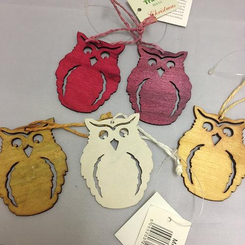 Wooden owl tree ornaments