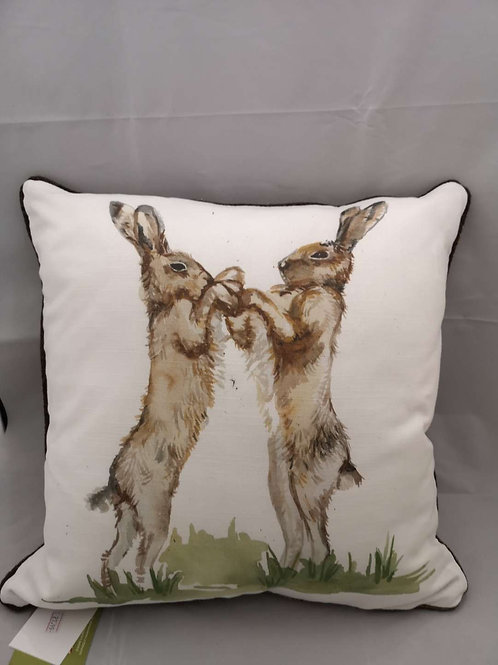Piped country boxing hares cushion