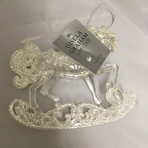 Clear rocking horse tree ornament