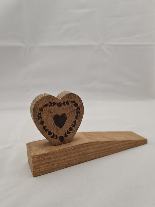 Wooden heart door stop