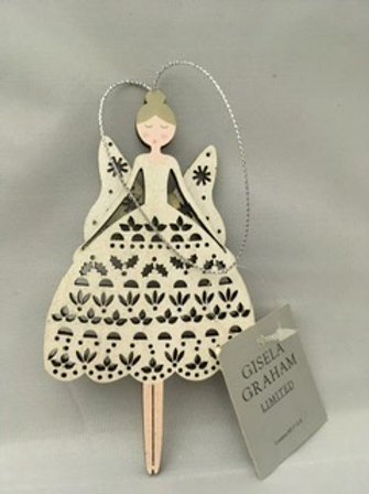 Wooden angel tree ornament