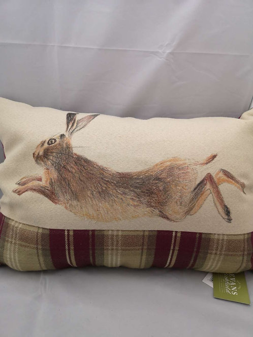 Heather leaping hare cushion