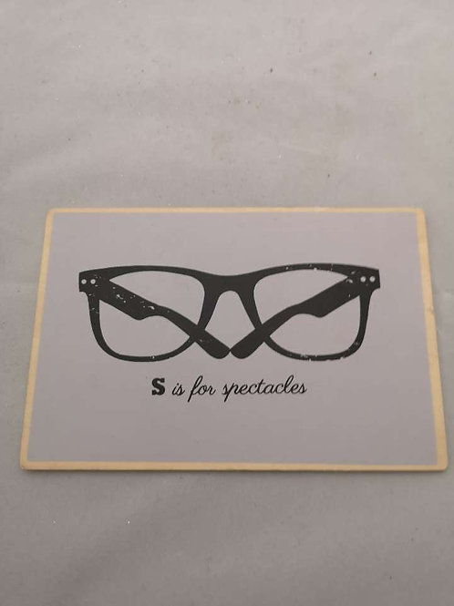 S is for spectacles wooden postcard