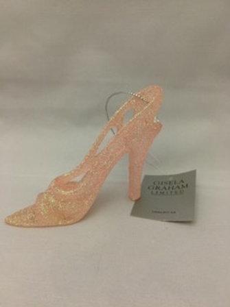 Sparkly pink heel tree ornament
