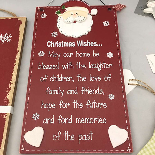 Christmas wishes wooden board