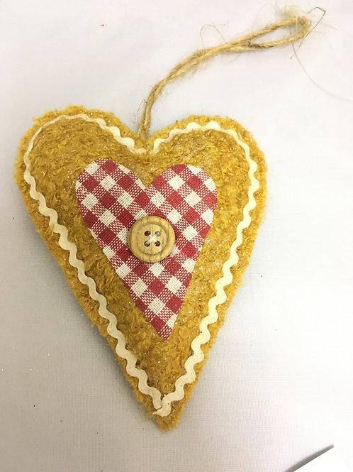 Sewn heart tree ornament