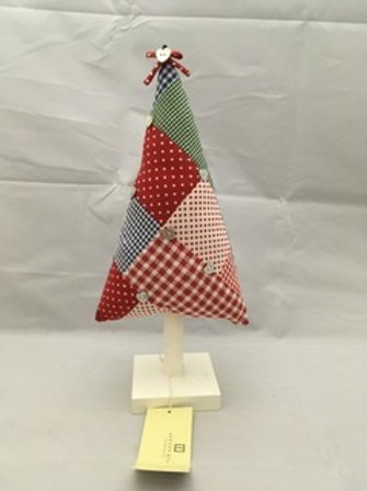 Patchwork stuffed Christmas tree ornament