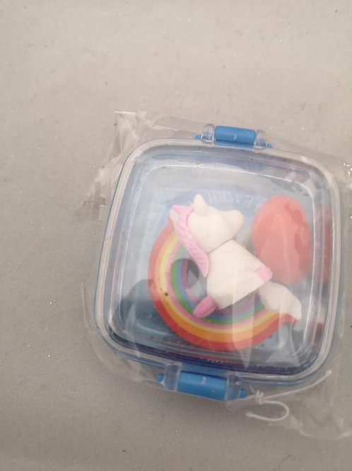 Rainbow, unicorn and red heart rubber pack