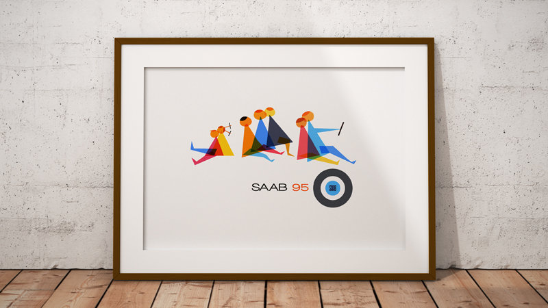Saab 95 '60s brochure cover print