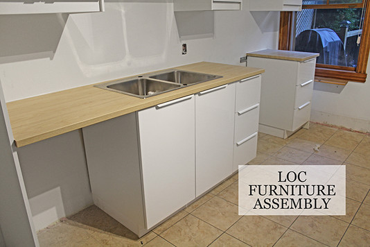 Cutout for sink and installed laminated countertop