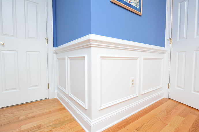 Shadow boxes, wainscoting painted bright