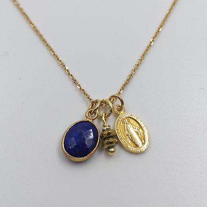 Collier Plaqué, Lapis lazuli et Hématite