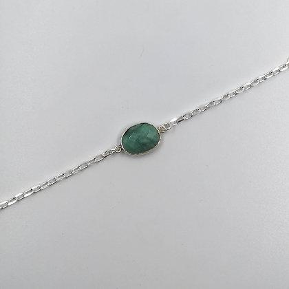Bracelet Argent et Amazonite Ovale